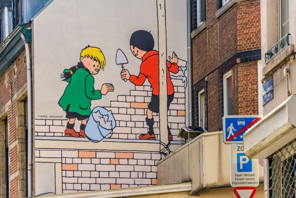One of the many cartoon murals in Brussels