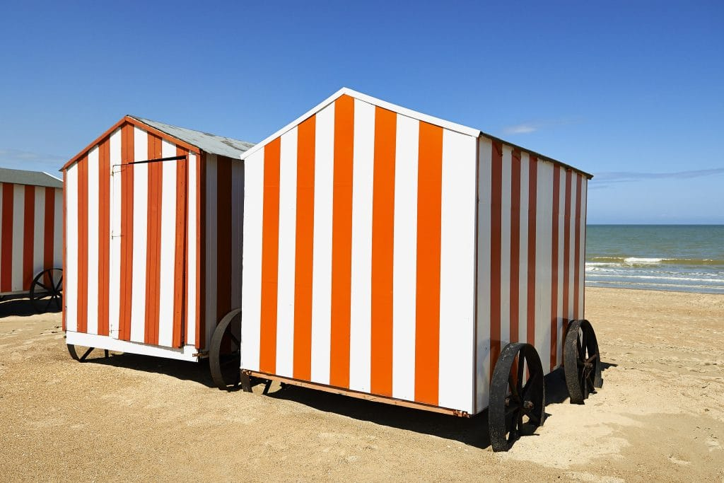 Typical beach huts in Belgium