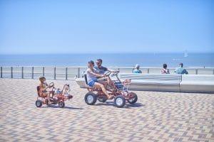 Family bikes by Wenduine beach