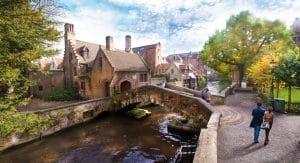Romantic bridge in Bruges