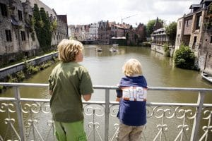 Watching the boats in Gent
