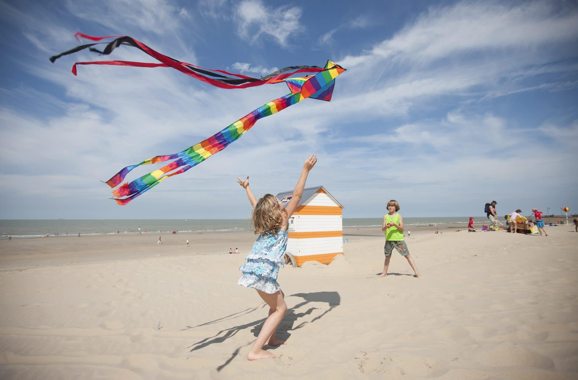 playing with kites on the Belgian coast