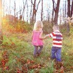 Kids running in Autumn