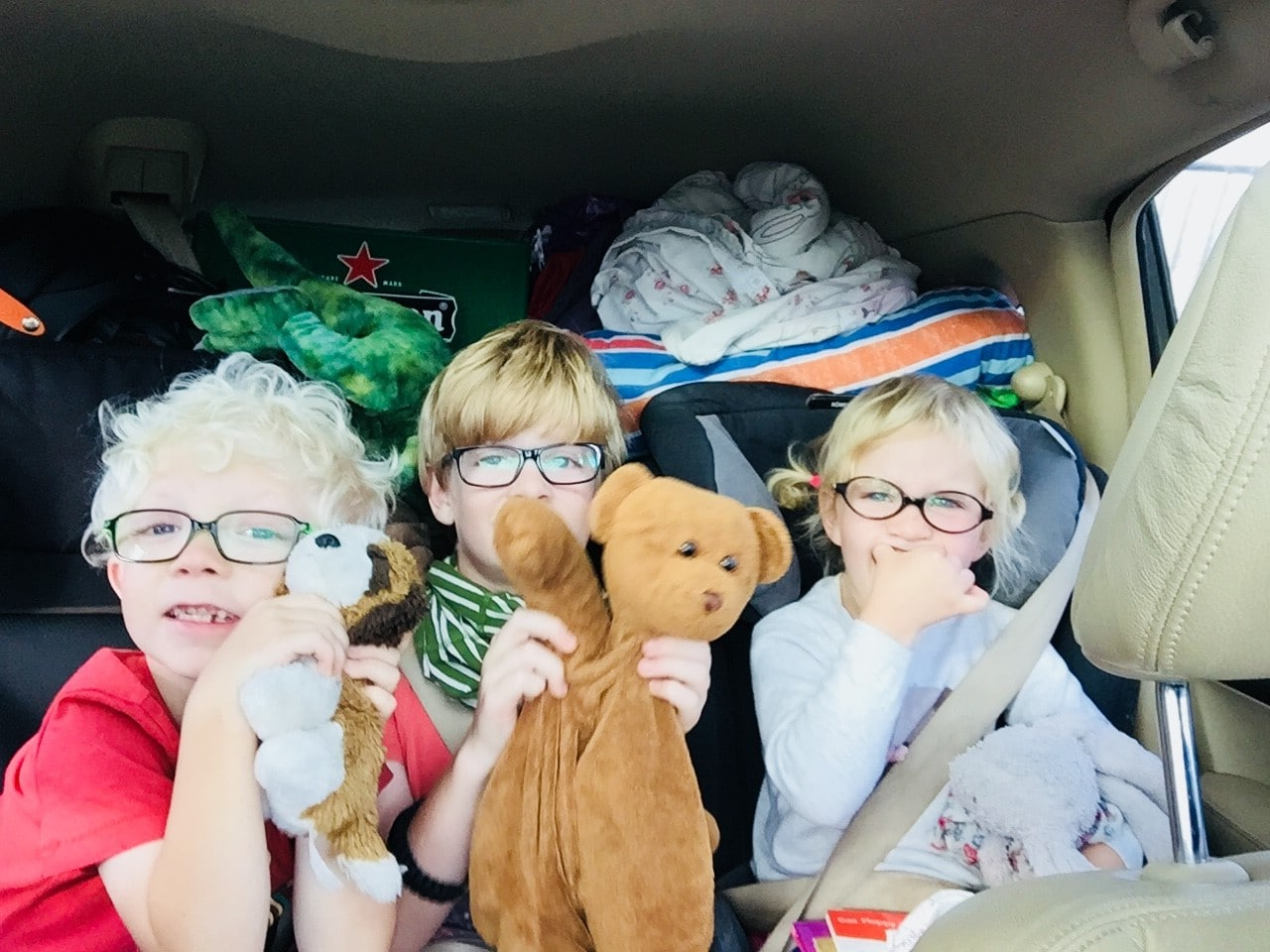 Children in car ready for road trip to Duinrell