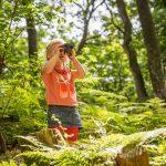 Girl in woodland walk